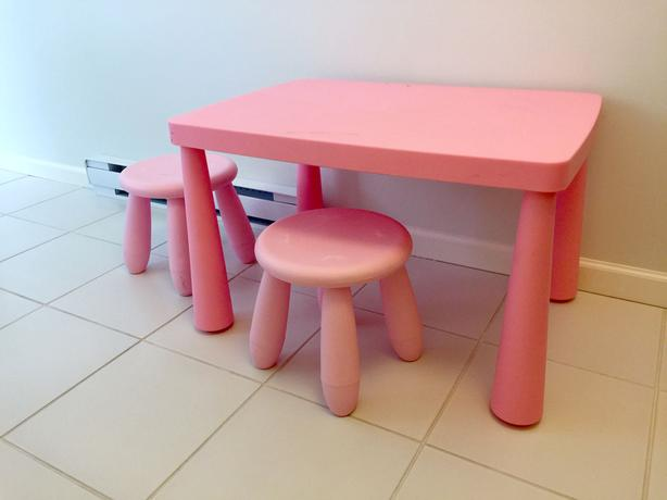ikea mammut childrens table with two stools sooke victoria. Black Bedroom Furniture Sets. Home Design Ideas