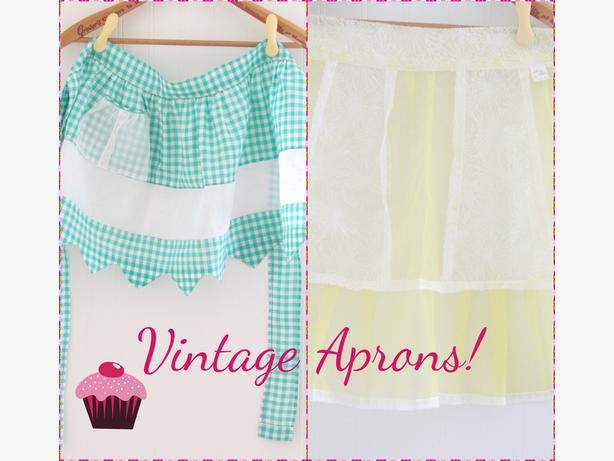 2 Vintage Aprons - Gingham & Yellow Sheer (never used/tag on)