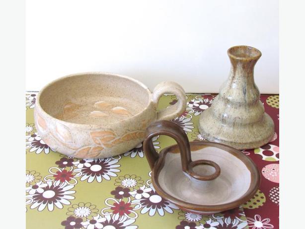 Handmade Pottery Bowl & 2 Candlesticks - Nice Fall Decor