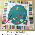 Vintage 'Artist's Palette' Tablecloth - France