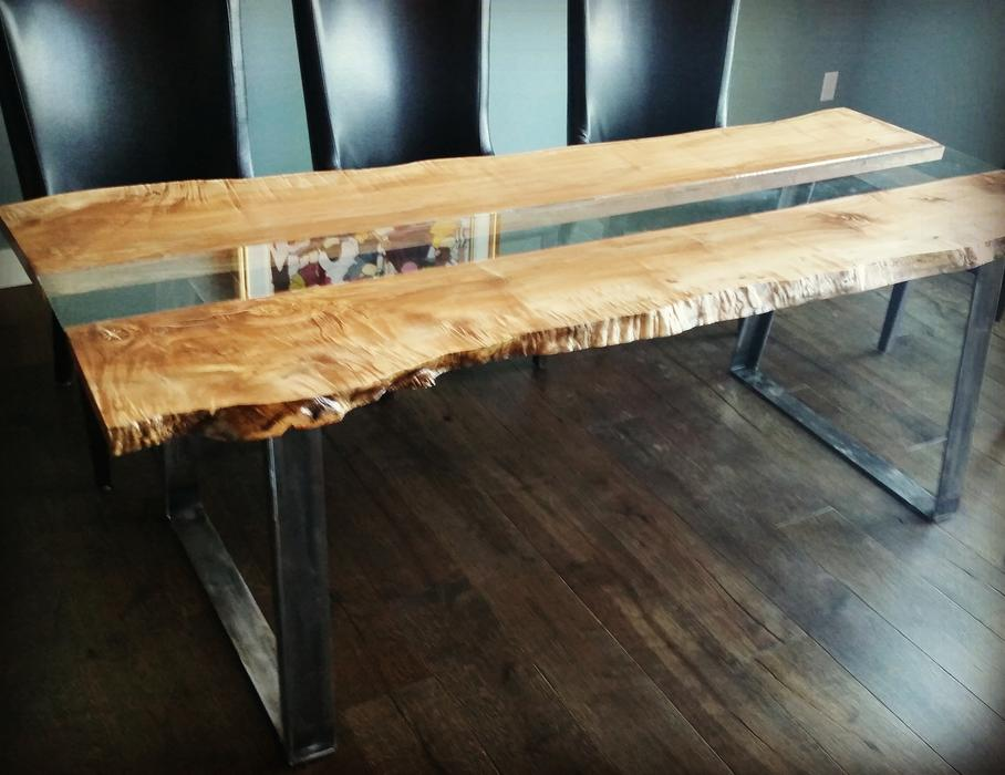 Large maple live edge dining room tables outside victoria for Dining room tables victoria bc
