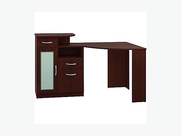 New - BushVantage Corner Desk  Harvest Cherry - For Sale