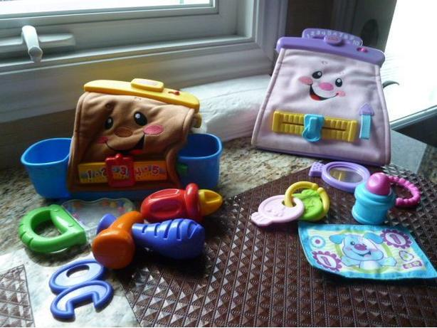 Fisher Price laugh and Learn purse (ENGLISH) and tool bag (FRENCH)