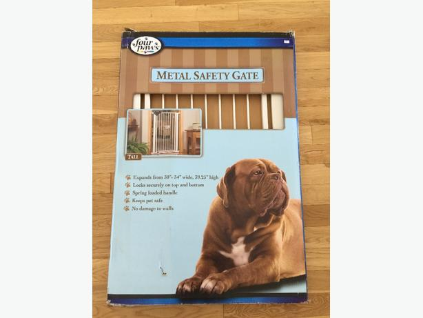 Large, metal, locking, pet safety gate