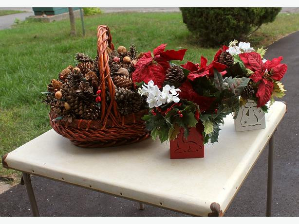Christmas Basket and Two Poinsettias
