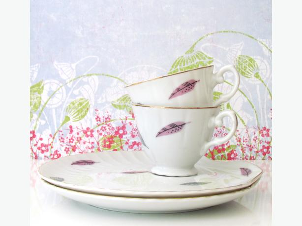 2 Mid-Century Teacup & Saucer Luncheon Sets / Tennis Sets