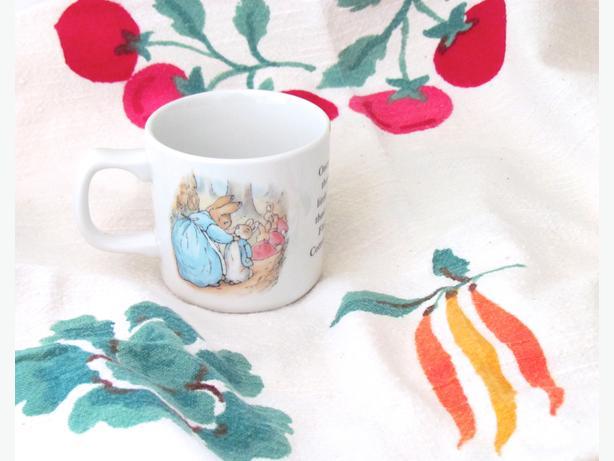 PETER RABBIT PARTY!  Mug & Garden Veggie Vintage Tablecloth