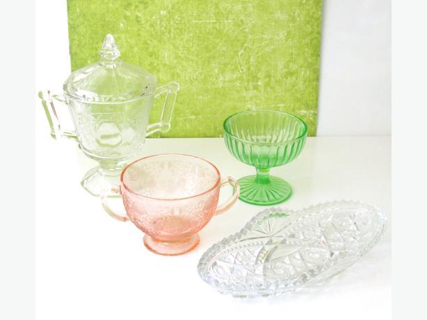 Assorted Vintage Depression Glass - Sugar, Sorbet, Pickle Dishes