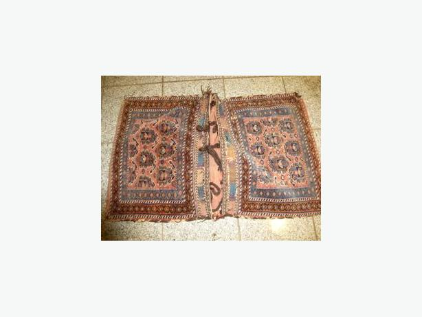 Antique camel bag rug