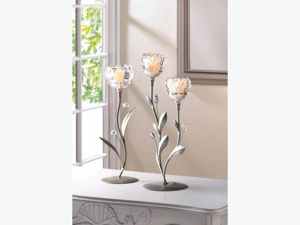 Glass Crystal-Look Flower Candleholder Centerpiece S/M/L Brand New 3PC