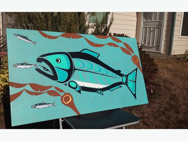 COHO NATIVE PAINTING ON VENEER