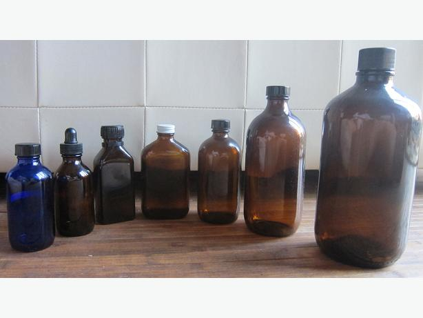 GLASS JARS ~ tinted, antique for herbalists, NDs, collectors, etc
