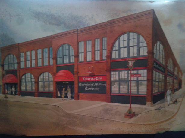 Watercolor of old Capital Iron building in Victoria