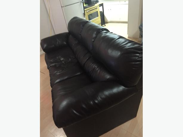 black leather comfy couch