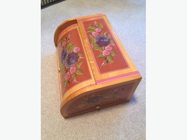 storage container /bread box -  wooden hand painted