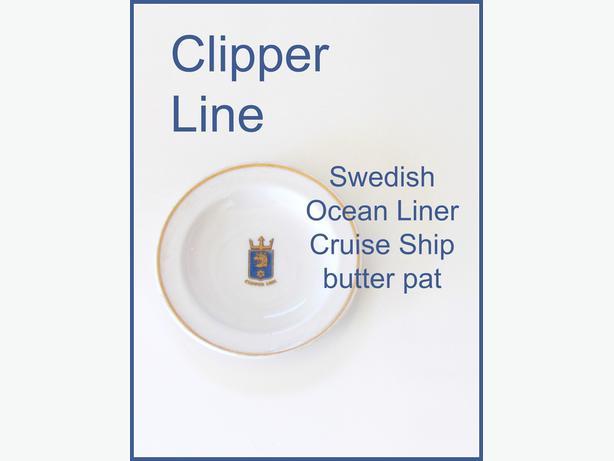 Vintage 1960's Clipper Line Swedish Ocean Liner Butter Pat