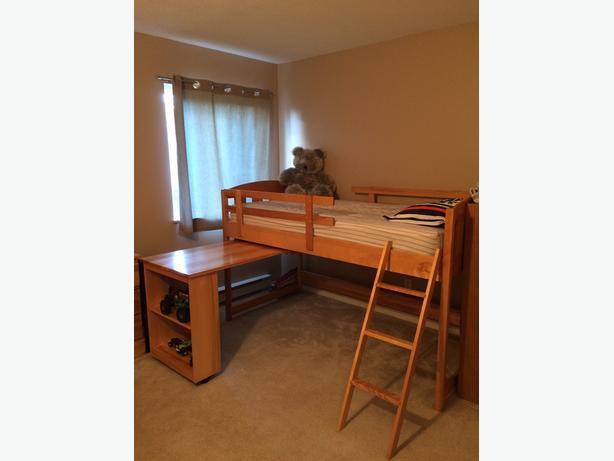 loft bed plus three draw dresser, built in stow away desk and storage unit