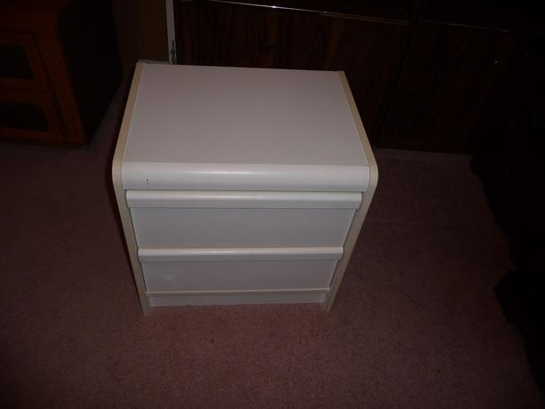 2 drawer white night table