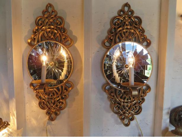 BEAUTIFUL PAIR WALL SCONCES  PRICE REDUCED