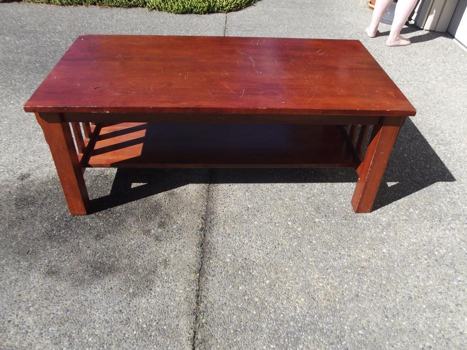 Solid wood mission coffee table with shelf duncan for Coffee tables london ontario