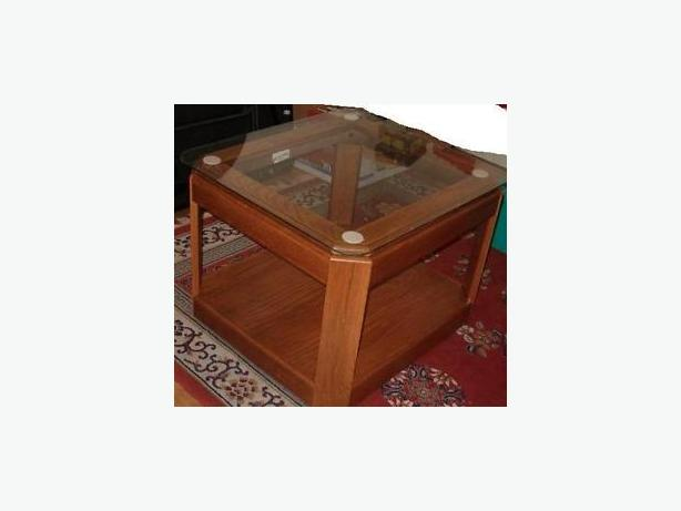 table ,one oak wood coffee table larger  glass top