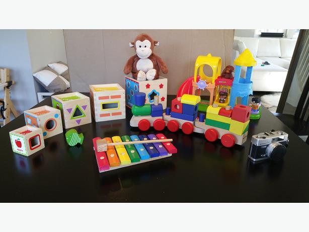 Wooden toys and more! Train, stacking boxes, xylophone, old camera...