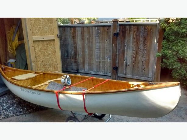 13' wood/canavas canoe