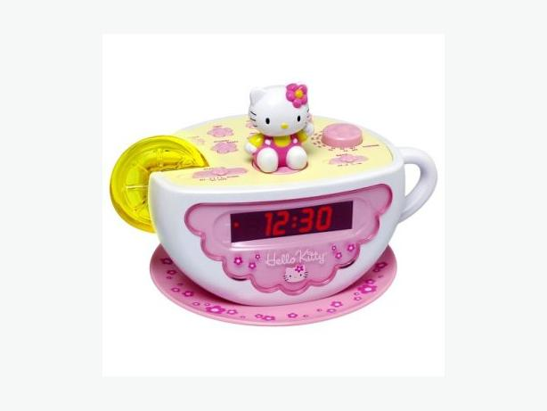 HELLO KITTY TEA CUP ALARM CLOCK W/AM/FM TUNER AND NIGHTLIGHT