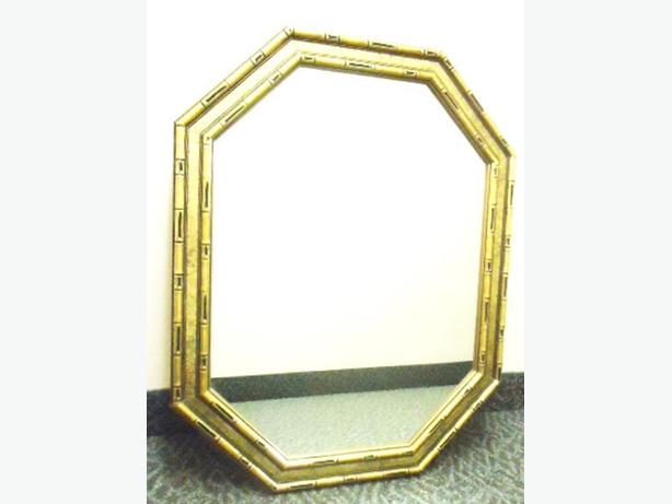 Large Gold Bamboo Octagon Shaped Mirror - Hollywood Regency