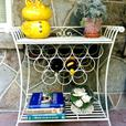 Bakers Rack with Wine storage and Rattan shelf