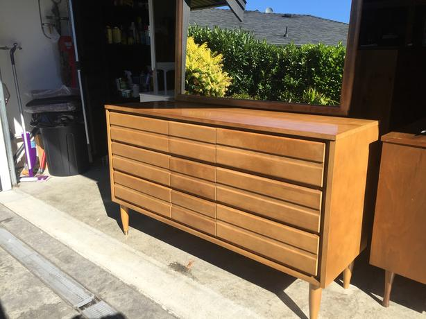 Mid Century Solid Wood Dresser Mirror Made By Baronet Furniture