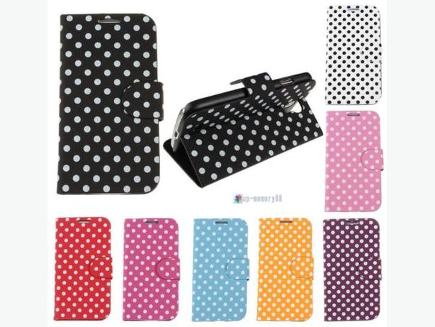 Polka Dots Pattern Flip Cover Stand Leather Case for Samsung S4