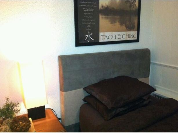 Contemporary suede headboard for double/queen bed