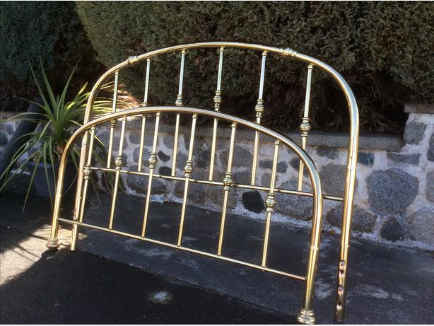 Queen size brass bed frame with rails
