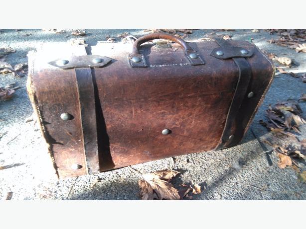 beautiful antique leather suitcase
