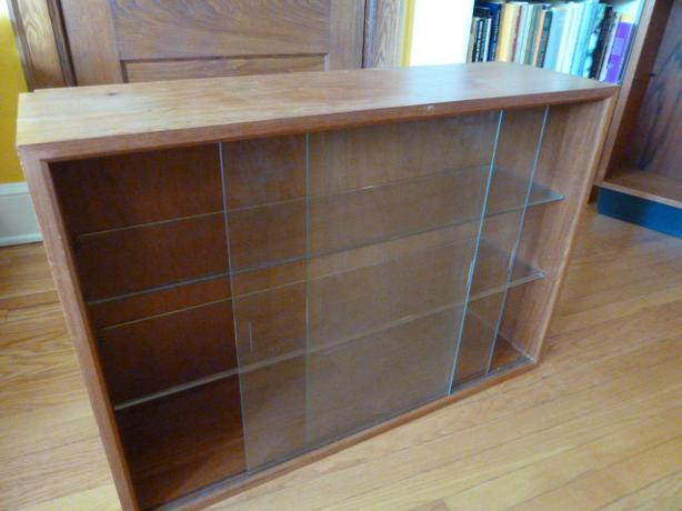 Teak mini Hutch with glass doors