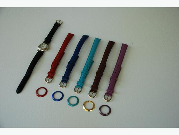 Women's Wrist Watch With 12 Interchangeable Coloured Bands & Faces