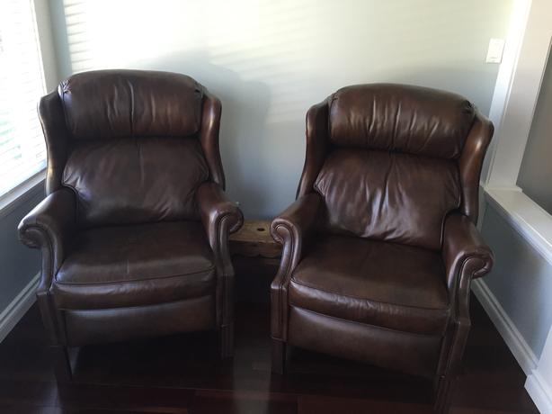 Two  Bradington-Young leather recliner chairs.