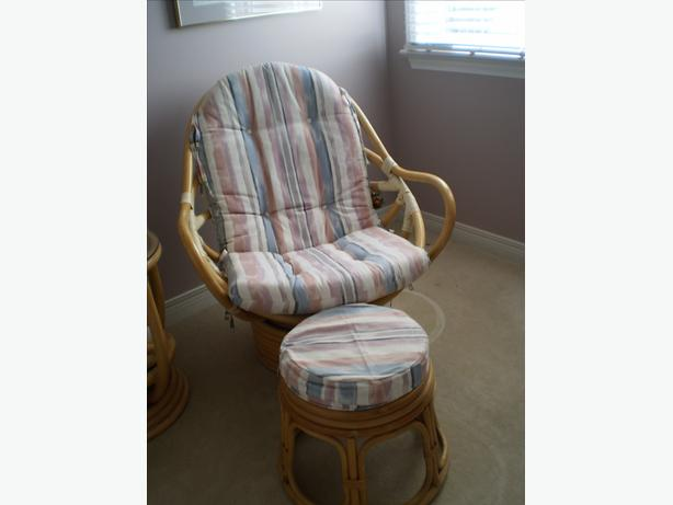 Rattan swivel- rocking chair  and foot rest