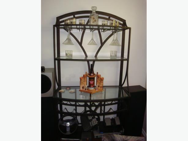 Nice modern  metal hutch with wine and glass rack.