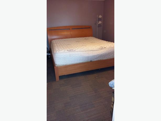 king size bed frame and box spring+matress