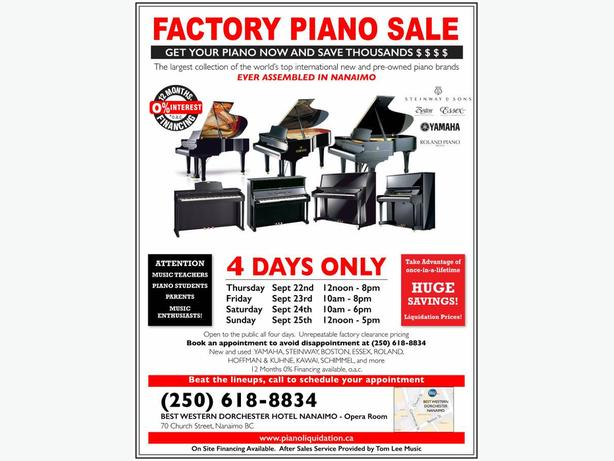ON NOW ~ Factory Piano Event - Largest Selection in Mid-Island History!