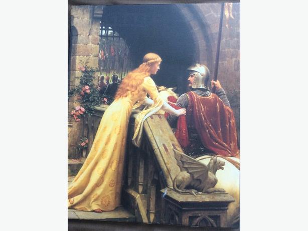 Gwynevere Pinning a Ribbon on a Knight