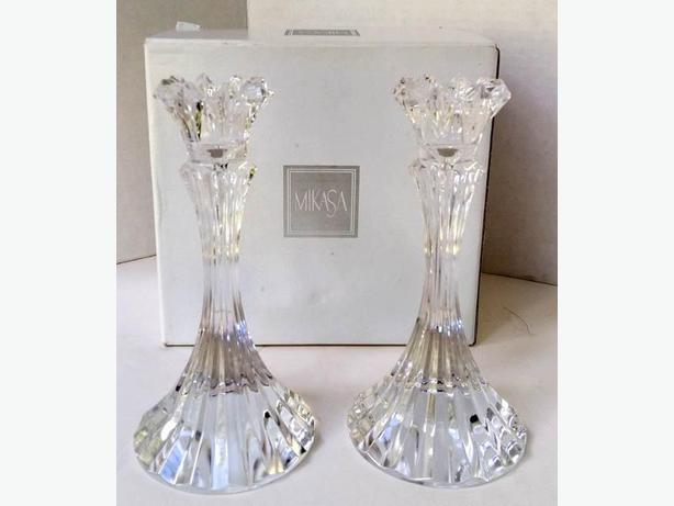 MIKASA Crysttal Candle Holders in BOX NEW