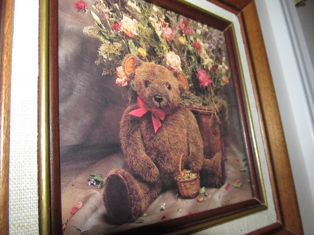 TEDDY BEAR PRINT IN WALNUT FRAME