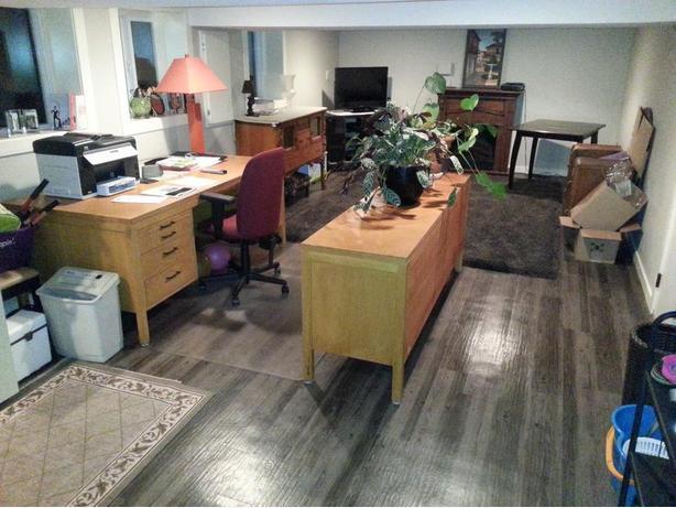 Oak Desk and Credenza Set