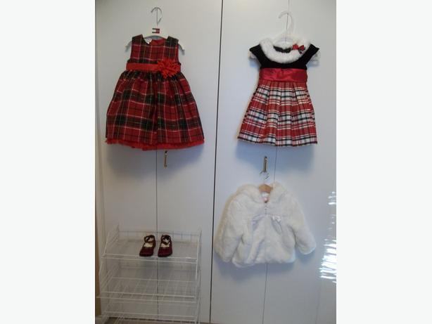 LITTLE GIRL HOLIDAY DRESSES ,COAT AND SHOES.