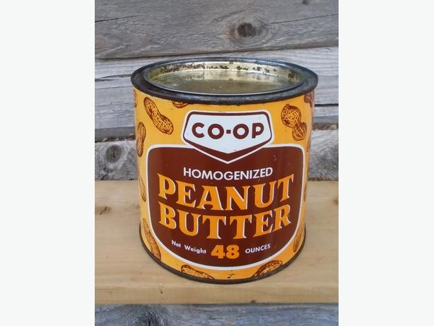 Vintage 1970 CO-OP Peanut Butter Tin w/ Peanut Graphics