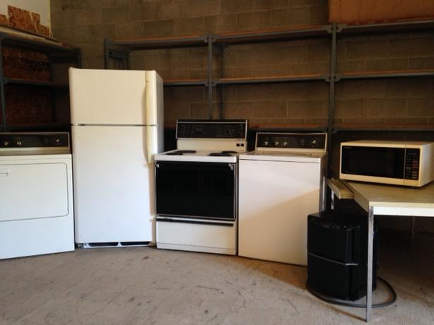 washer, dryer, fridge, stove and microwave
