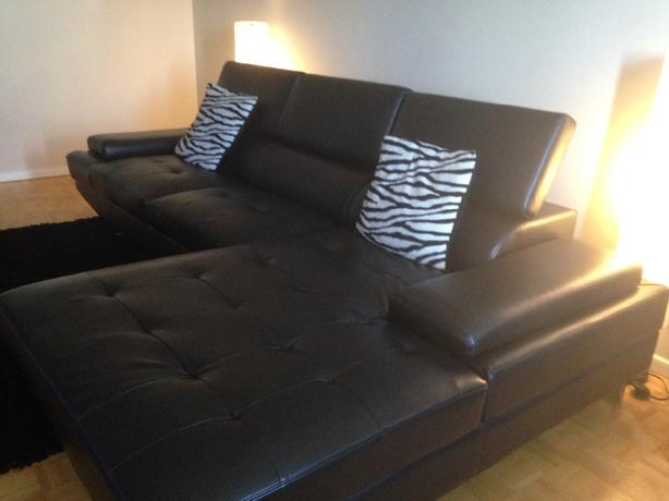 Left-Facing Modern Faux Leather Sectional